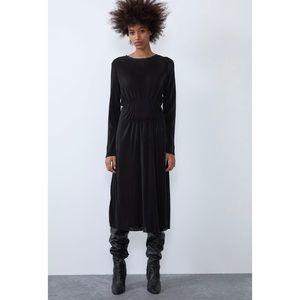 NEW Zara Midi Black Pleated Dress